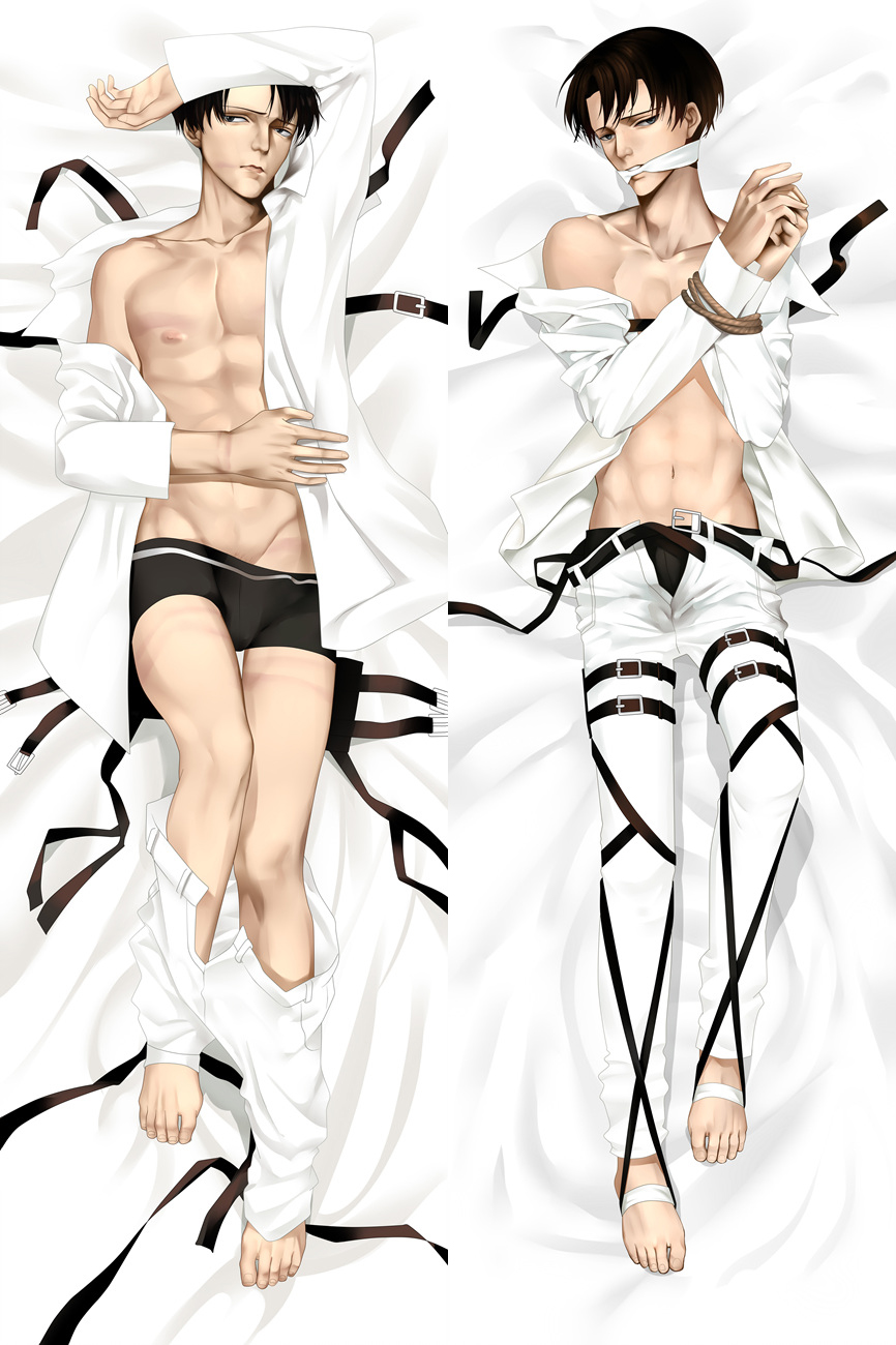 Japanese Anime Male Attack On Titan Shingeki No Kyojin Levi Rivaille Mikasa Ackerman Hugging Body Pillow Cover Case Dakimakura