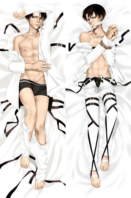 Japońskie Anime męski atak na tytana Shingeki no Kyojin Levi Rivaille Mikasa Ackerman poszewka z postacią do przytulania Dakimakura