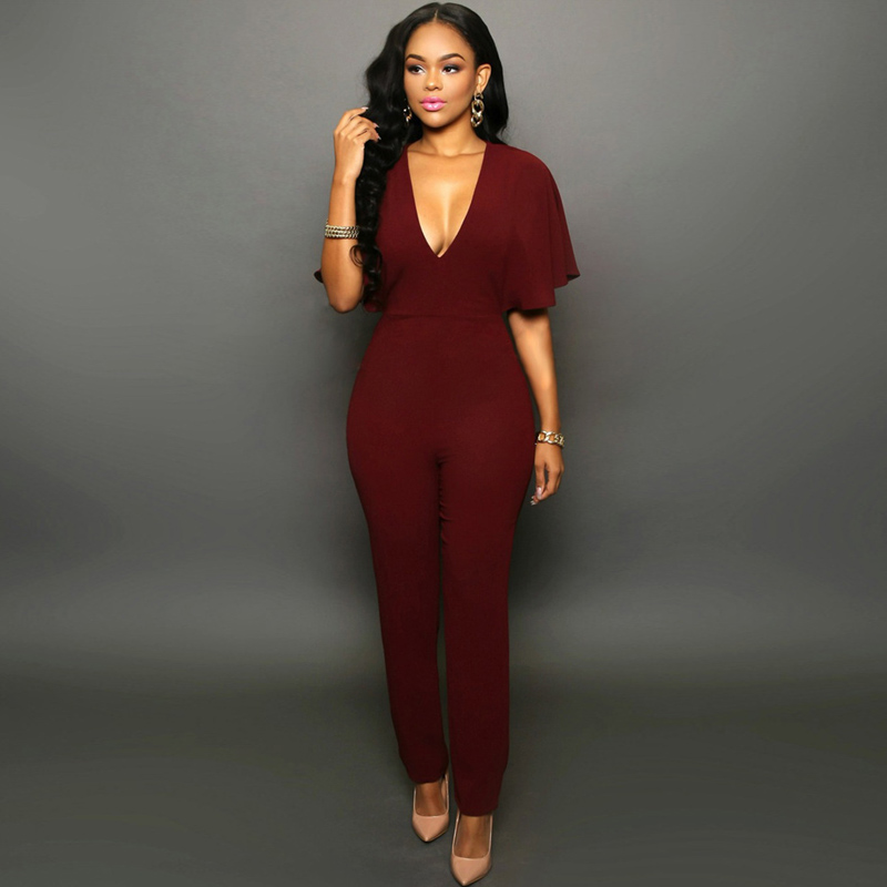 Slim Fit Solid Black RedWine Women Jumpsuit New Sexy Deep V-neck Backless Clubwear Bodycon Rompers Party Overalls Casual Clothes