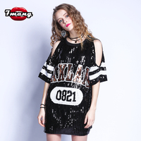 2018 Summer Women Sexy Street Black Blue White Letter Off Shoulder Short Sleeve Loose Sequins Straight