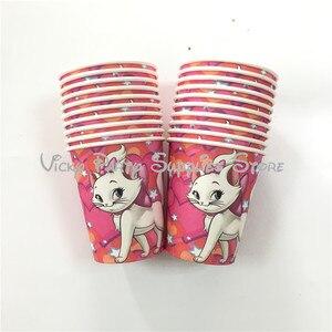 20 шт./лот, одноразовый стаканчик Marie Cat, бумажный стаканчик, мультяшный розовый кот, аристократы, вечерние, для дня рождения, для детского душа...