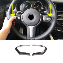 For BMW F20 F22 F21 F30 F32 F33 F36 F06 F12 F13 X5 F15 X6 F16 M-Sport Carbon Fiber ABS ChromSteering Wheel Decoration Frame Trim все цены
