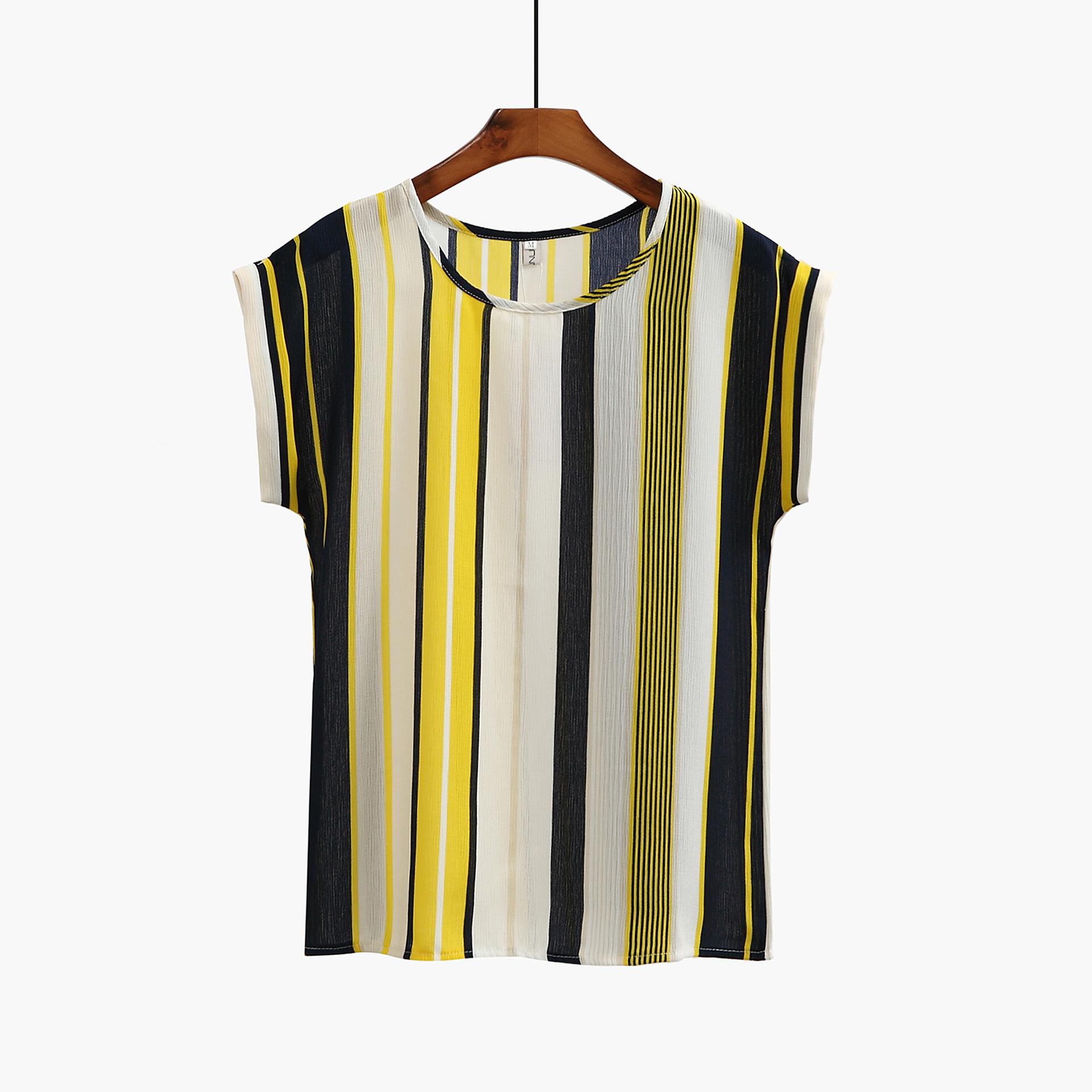 New Spring Summer Women's Blouse Office Ladies Slim Tops Short Sleeve Print Chiffon Shirts Striped Casual Blouses Blusas Mujer