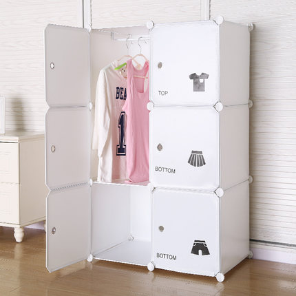 Simple wardrobe,modern economical wardrobe combination, household dormitory  plastic combination cabinet,wardrobe bedroom storage-in Storage Boxes & ...