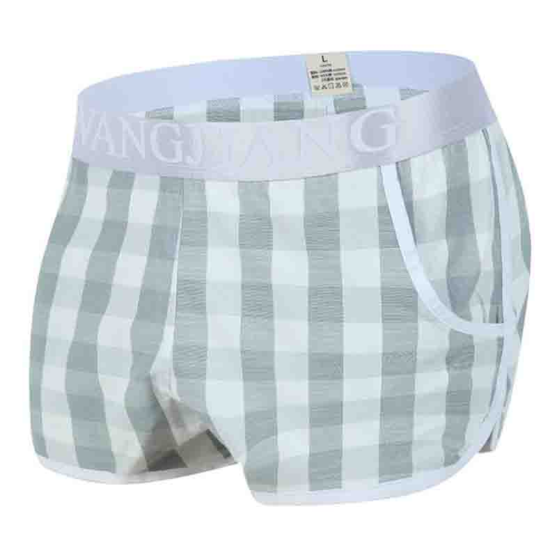 Men's Elastic Soft Cotton Breathable Relaxed Shorts Fashionable Simple Plaid Household Shorts