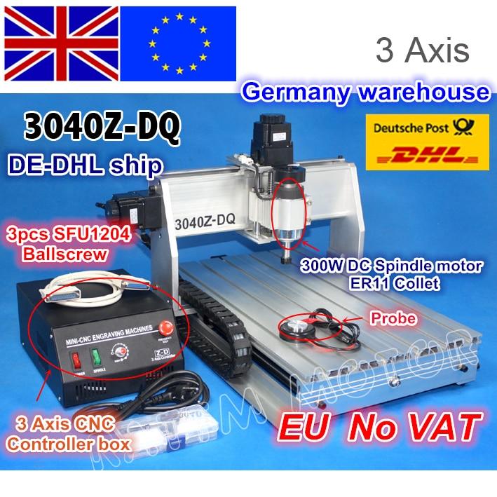 L'UE libérez le bateau TVA 3 Axe 3040Z-DQ vis à Billes 300 W moteur de broche CNC ROUTEUR GRAVEUR/GRAVURE machine de perçage et fraisage 220 v/110 V