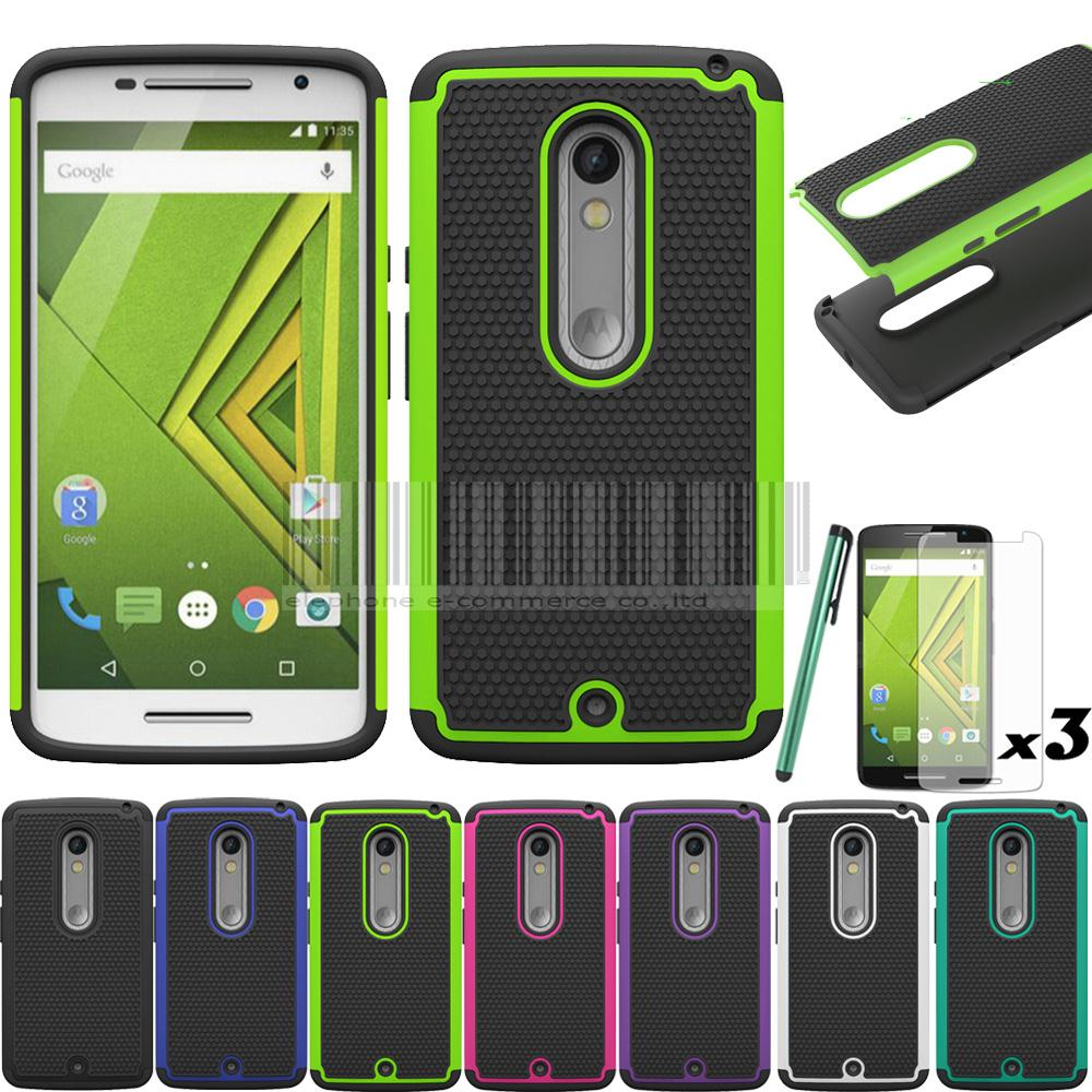 pretty nice 9ce4a 4dd21 US $1.44 15% OFF|For Motorola Moto X Play XT1562 XT1563/Droid Maxx 2 Case  Hybrid Armor Heavy Duty TPU Silicone Hard Back Cover With/Without Films-in  ...