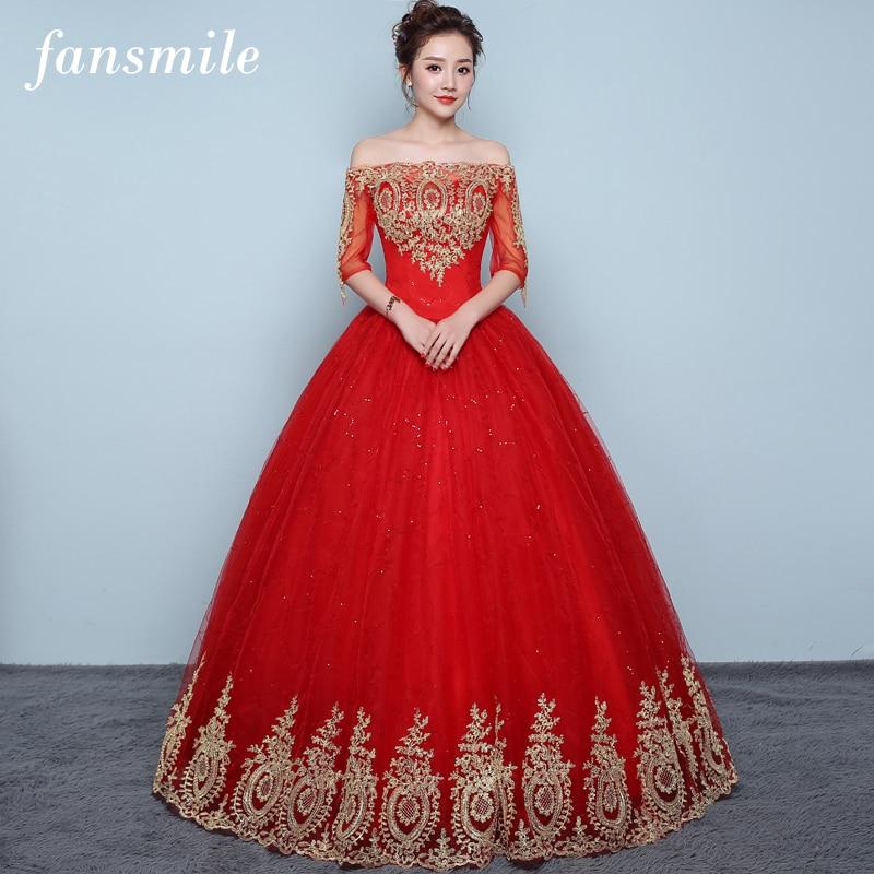 Fansmile 2019 Tulle Mariage Off Shoulder Vestido De Noiva Lace Ball Wedding Dress Custom made Plus