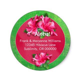 3.8cm Hawaiian Luau Address Labels with Pink Hibiscus