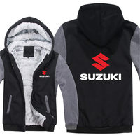 Winter Men Zipper Hoodies Motorcycle Suzuki Jacket Men Pullover Casual Wool Liner Fleece Suzuki Sweatshirts Unisex Coat 031