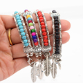 David Kabel 17.5cm Ethnic style fashion jewelry Tibetan silver turquoise beads feather bracelet