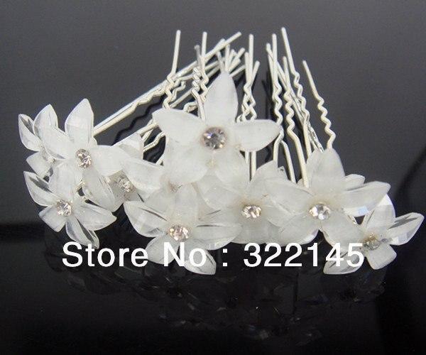500 шт. свадебные белый цветок Кристалл заколки