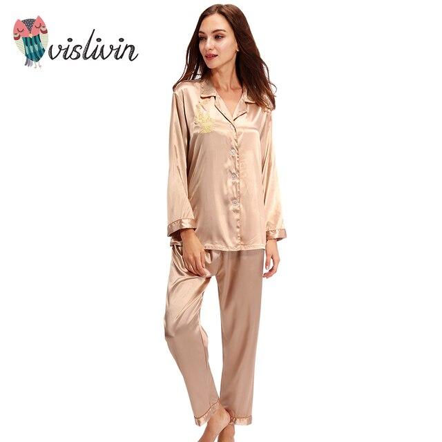 98bcecde14 Vislivin Silk Pajamas Women Long sleeve Solid Satin Pyjamas Men Love  Sleepwear Woman s Lounge Couples Pajama Sets Pijama 82.2 ₪. Blue. Champagne