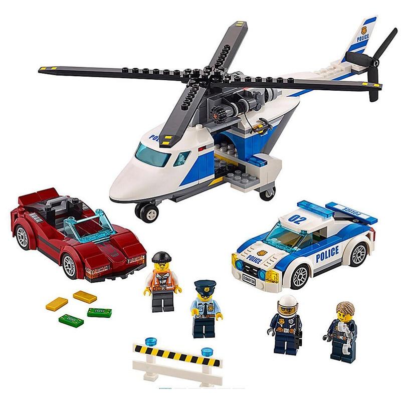 02018 317pcs High-speed Chase Pursuit Car Set Model Building Blocks Bricks Toys Gift For Kids Compatible Legoness City 60138