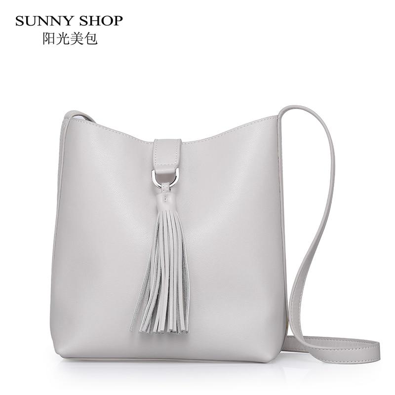 SUNNY SHOP 2017 Summer New High Quality Genuine Leather Handbags Natural Skin Purses And Handbags Tassel