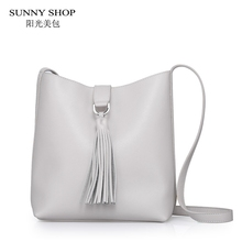 Sunny shop 2017 sommer neue hohe qualität aus echtem leder handtaschen natürliche haut geldbörsen und handtaschen quaste frauen messenger bags