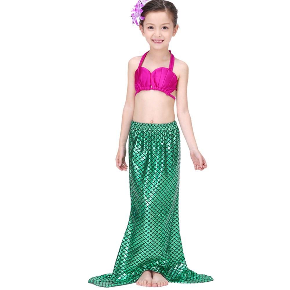 3-12Y Girls Swimwear Children Princess Dress 3PCS Split Traje de - Ropa de ninos