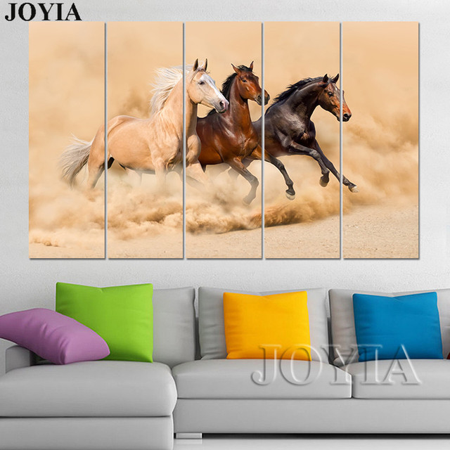 Large Wall Art Canvas Prints 3 Piece Horse Paintings Running Horses In Sands Pictures 4 5