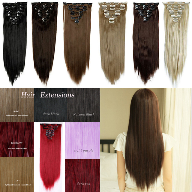 8 Piece 26inch Long Straight Full Head Clip In Hair Extensions Black
