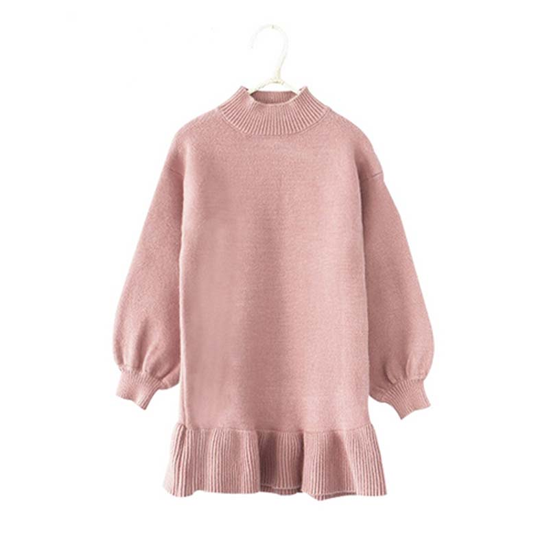 New Baby Girls Dress Autumn Long Sleeve Girl Dresses Cotton Knitted Children Clothes Toddlers Girl Wool Sweaters Outerwear Dress new autumn winter kids toddlers girls dresses cotton long sleeve princess dress children girl clothes m2
