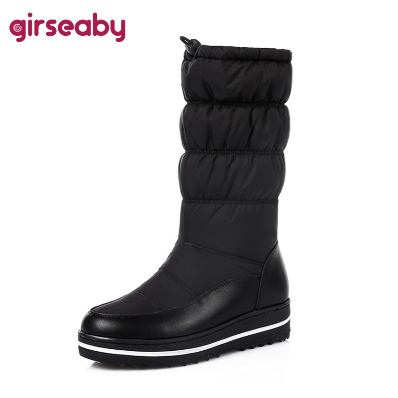Girseaby New Genuine Leather Snow Boots Women Thick Fur Warm Down Mid Calf Winter Boots Round Toe Platform Shoes A798f Quality And Quantity Assured Tapes, Adhesives & Fasteners