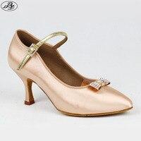 Women Ballroom Dance Shoes BD186 Fresh Tan Satin Soft Napped Leather Outsole Women Modern Standard Dancing Shoes High Heel