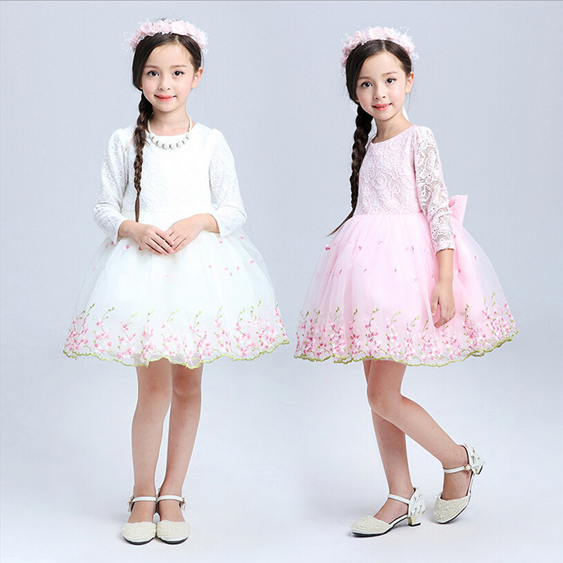 Teenage Girls Clothes White Pink Tutu Dress Long Sleeve Easter ...