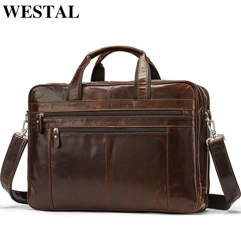 Bagaj ve Çantalar'ten Evrak Çantaları'de WESTAL Erkek Evrak Çantası Hakiki Deri Laptop Tote Büyük omuz çantası erkekler Deri Evrak Çantası iş çantaları Belge için 7319'da  Grup 1