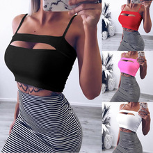 2019 Sexy Women Solid Strappy Tanks Vest Crop Top Summer SleevelessTanks Beach Sports Tank Tops festival  & Club