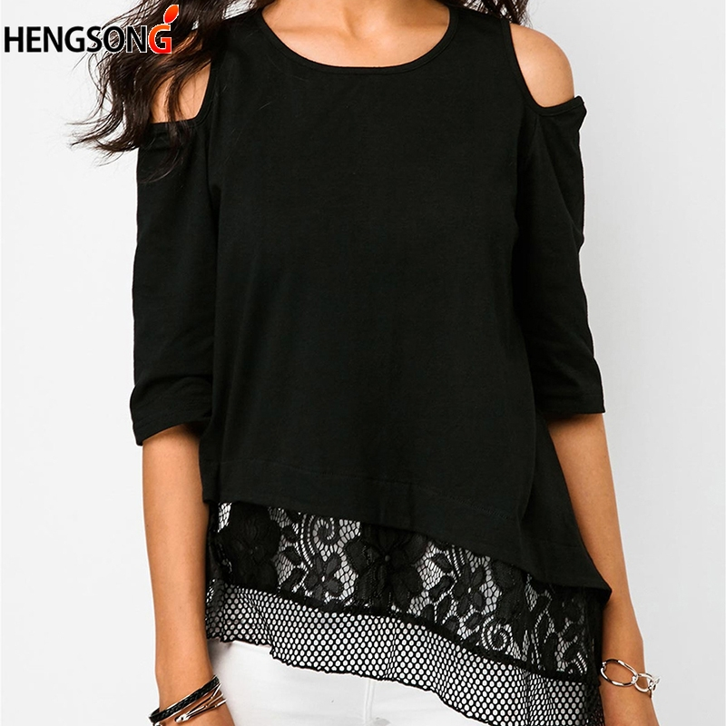 Black Lace Mesh Stitching T-Shirt For Women Off Shoulder Half Sleeve T Shirt Fashion Sexy Summer Female T-shirt Female  Top Tees