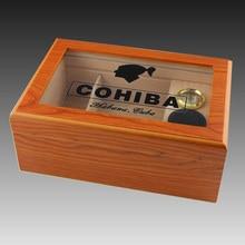 цена на High Quality Transparent Glass Yellow Cedar Wood Cigar Humidor Storage Box with Humidifier Hygrometer