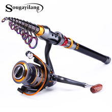 Sougayilang 1.8-3.6m Telescopic Fishing Rod and 11BB Fishing Reel Wheel Portable Travel Fishing Spinning Fishing Rod Combo Pesca