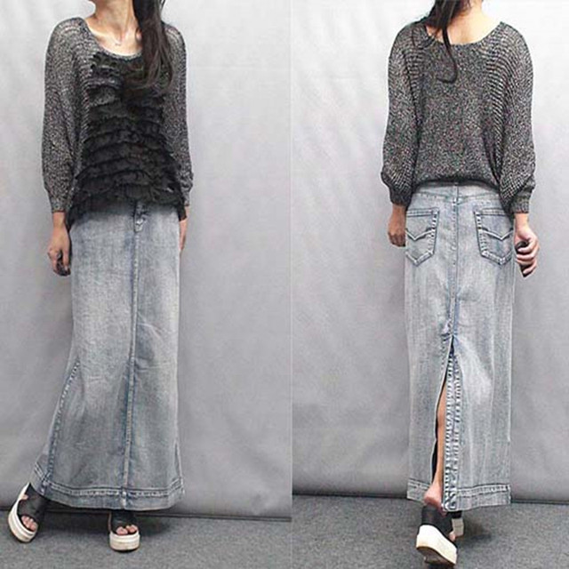 Free Shipping 2017 New Fashion Plus Size 5XL-7XL High Quality Thick Denim Long Maxi Women Straight Skirt With Slit Spring Autumn