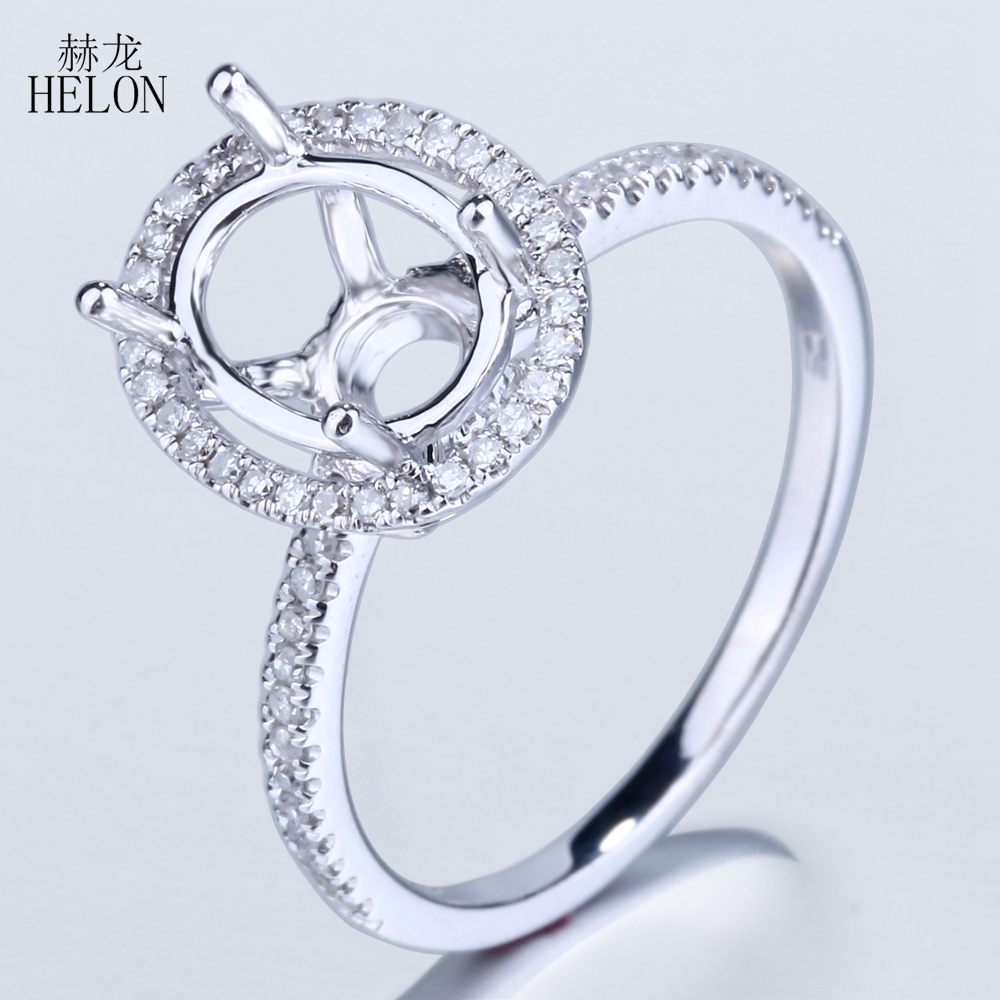 HELON 9x7mm Oval Cut Semi Mount Engagement Wedding Solid 10K White Gold Pave Genuine Natural Diamond Fine Jewelry Ring wholesale vintage oval 7x9mm solid 18kt white gold diamond semi mount pendant wholesale fine jewelry for girl wp025