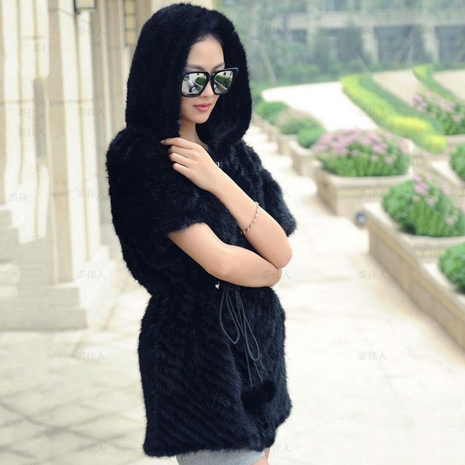 Più sizenatural visone lavorato a maglia gilet di pelliccia donne reale gilet di pelliccia con felpa con cappuccio manica corta femme moda autunno inverno outwear cappotto