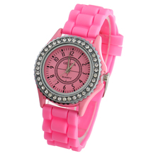 Gnova Platinum Silver Crystal Woman Geneva Watch silicone wristwatch rhinestone women watches casual montre hours A286