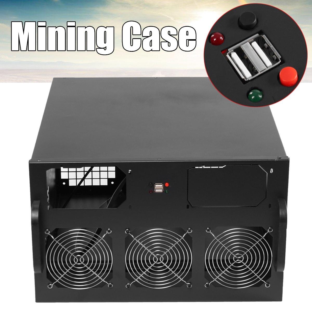 Open Air Coin Mining Miner Frame Rig Case 6U 2x USB 2.0 3 Fans ETH BTC Ethereum