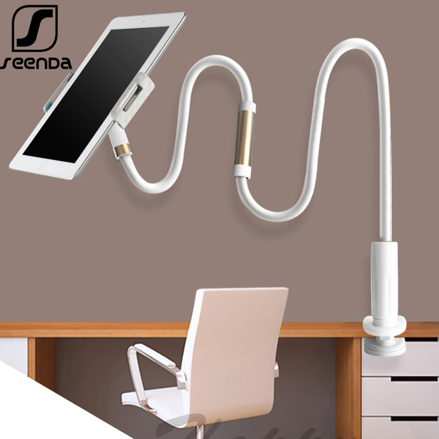 """SeenDa Long Arm Tablet Stand Holder for iPad Air Mini Mipad Kindle Adjustable 4.0 to 11""""Desktop Tablet Stand Bed Phone Holder"""
