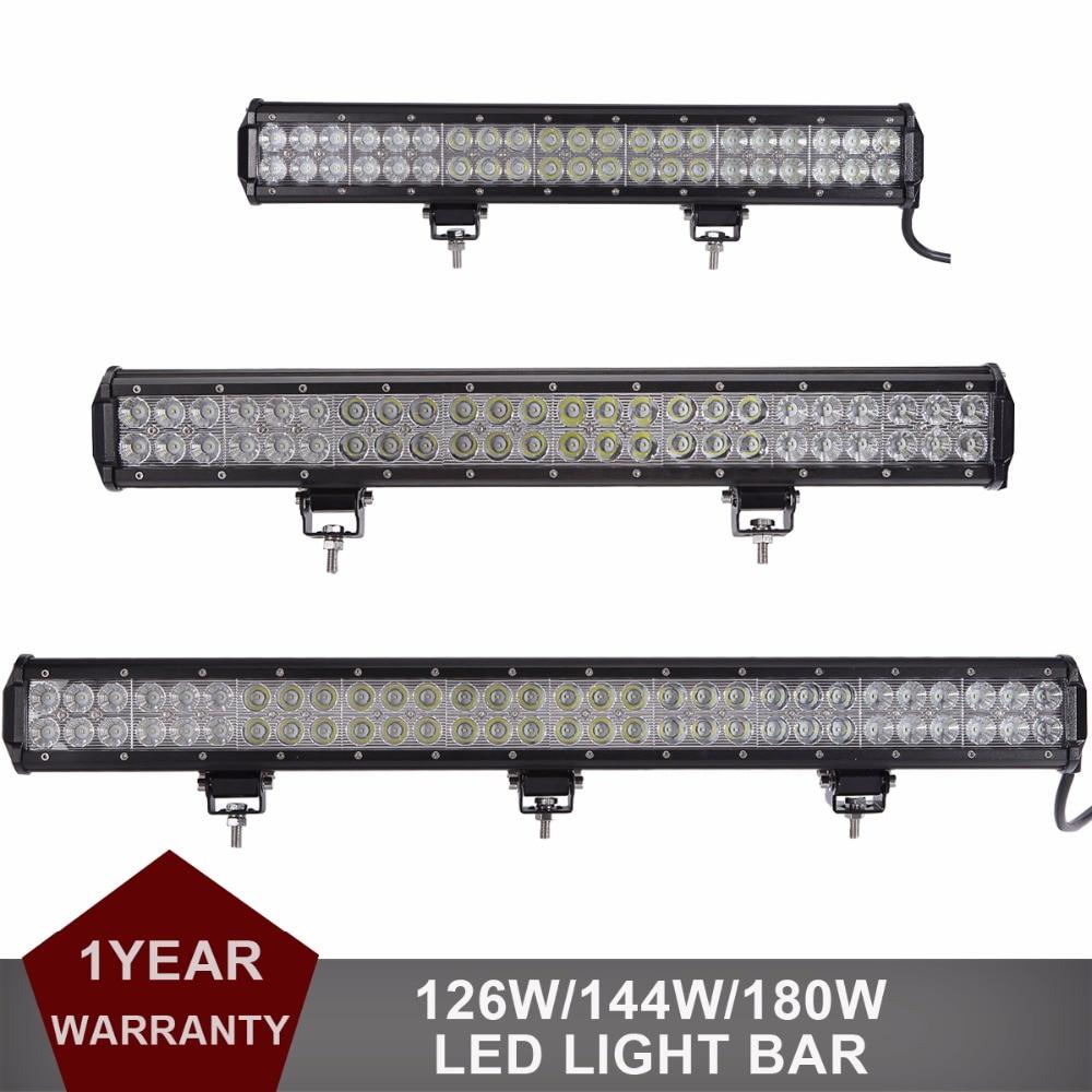 126W 144W 180W Offroad LED Light Bar 20 23 28 Car Auto SUV ATV Pickup Van Camper Wagon Boat 4X4 AWD 4WD Headlight Driving lamp