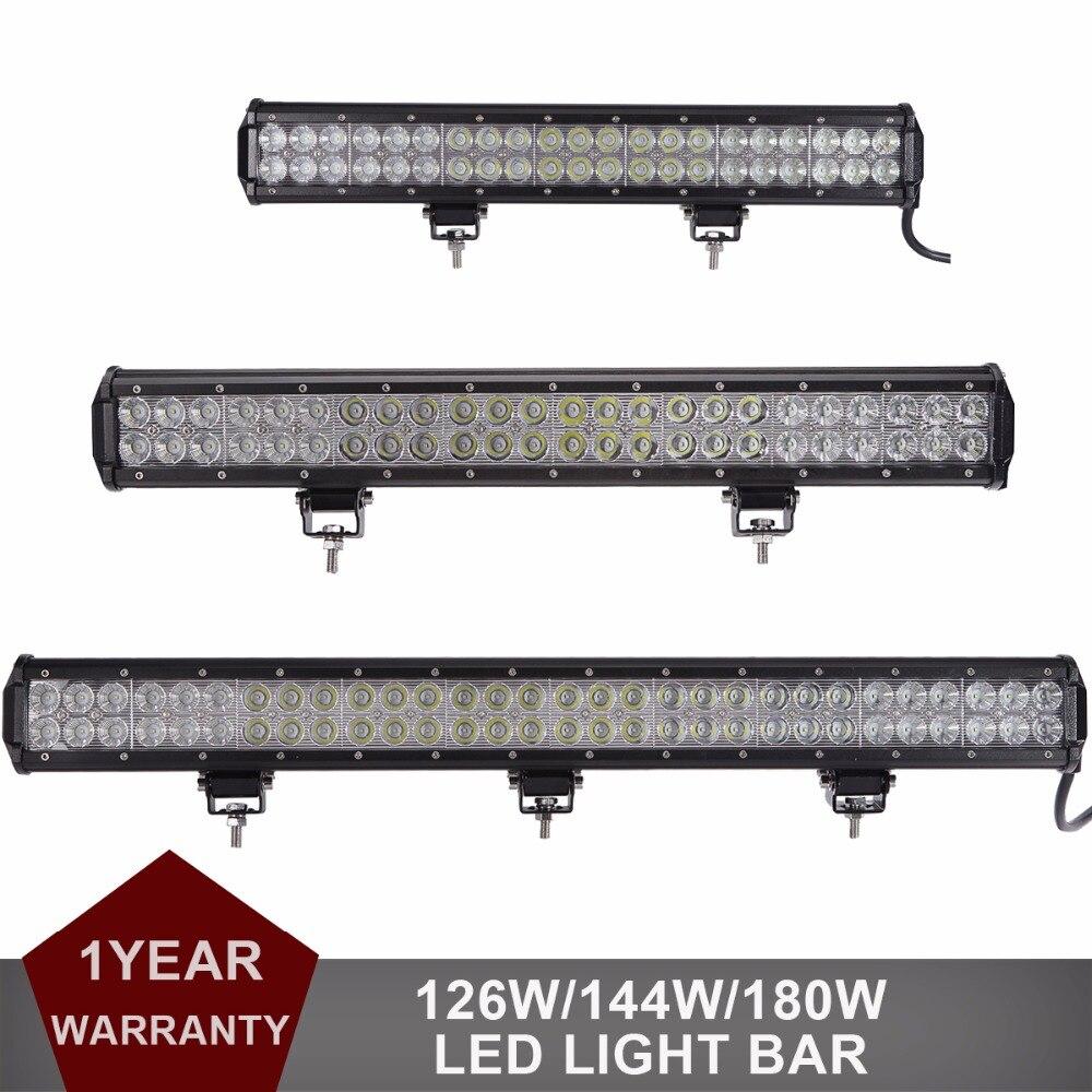 цена на 20 23 28 Inch Offroad LED Light Bar Car Auto SUV ATV Pickup Van Camper Wagon Boat 4X4 4WD Headlight Driving lamp 126W 144W 180W