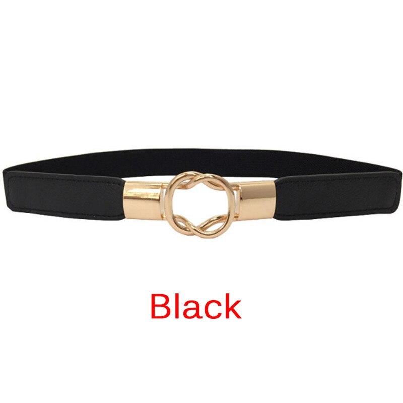 3 Colors Fashion Women's Belt Elastic Waistband Gold Circle Buckle Small Belts Red Thin Cummerbund Woman Belt Strap Brown