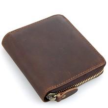 Cool Men High-quality Dermis Wallets Temperament Male Genuine Leather Solid Color Zipper Bags