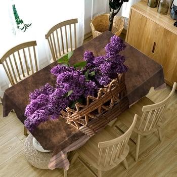Dość 3D fioletowym kwiatem wzór obrus pyłoszczelna zmywalna tkanina zagęścić bawełny prostokątne i okrągłe obrusy