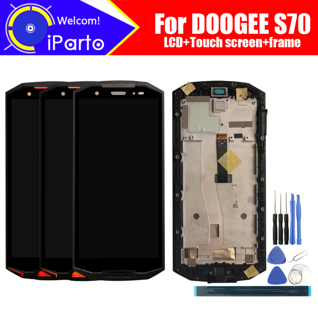 5.99 inch DOOGEE S70 LCD Display + Touch Screen Digitizer + Frame Assembly 100% Original LCD + Touch Digitizer for S70+ Tools
