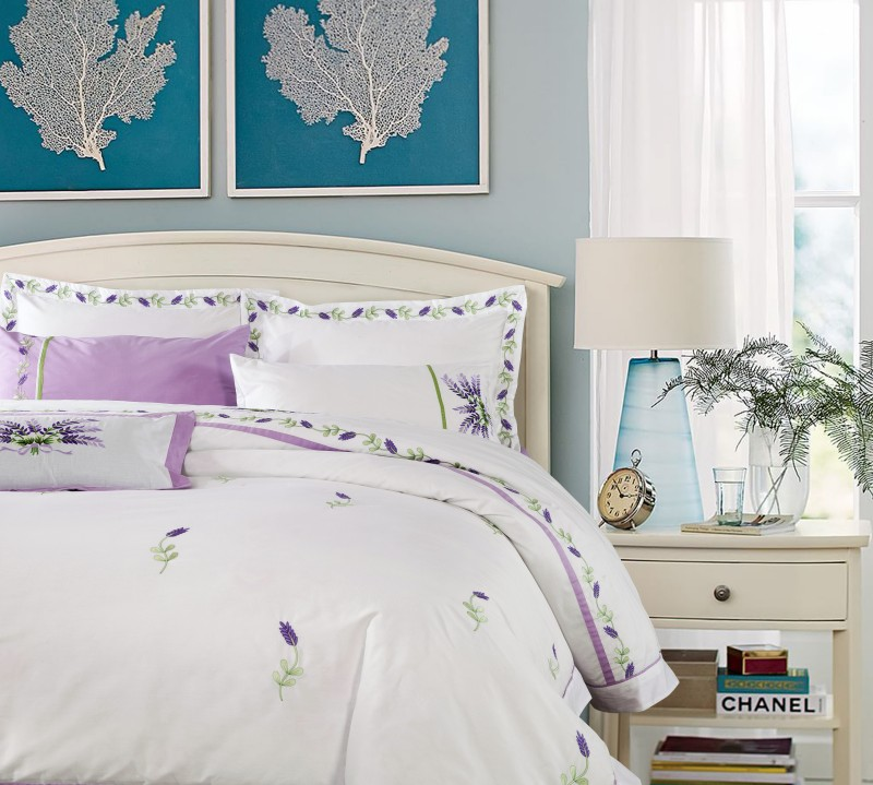 buy sunnyrain 4 pieces lavender sets queen king size 100 cotton duvet cover flat sheet pillow cases from reliable case