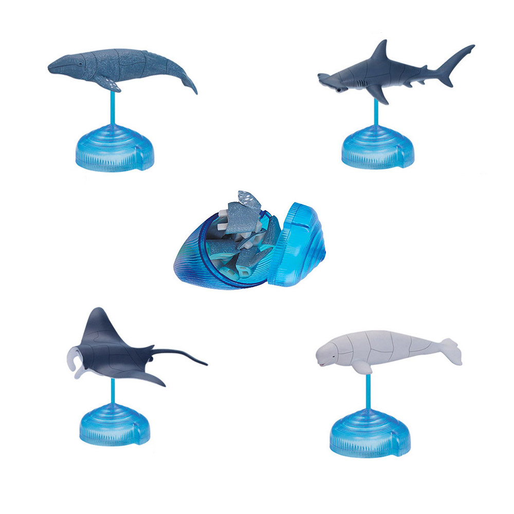 Assorted 4pcs/set Of Ukenn 2nd Generation 3D Sea Animal Puzzles DIY Models Kids Educational Toy 4266