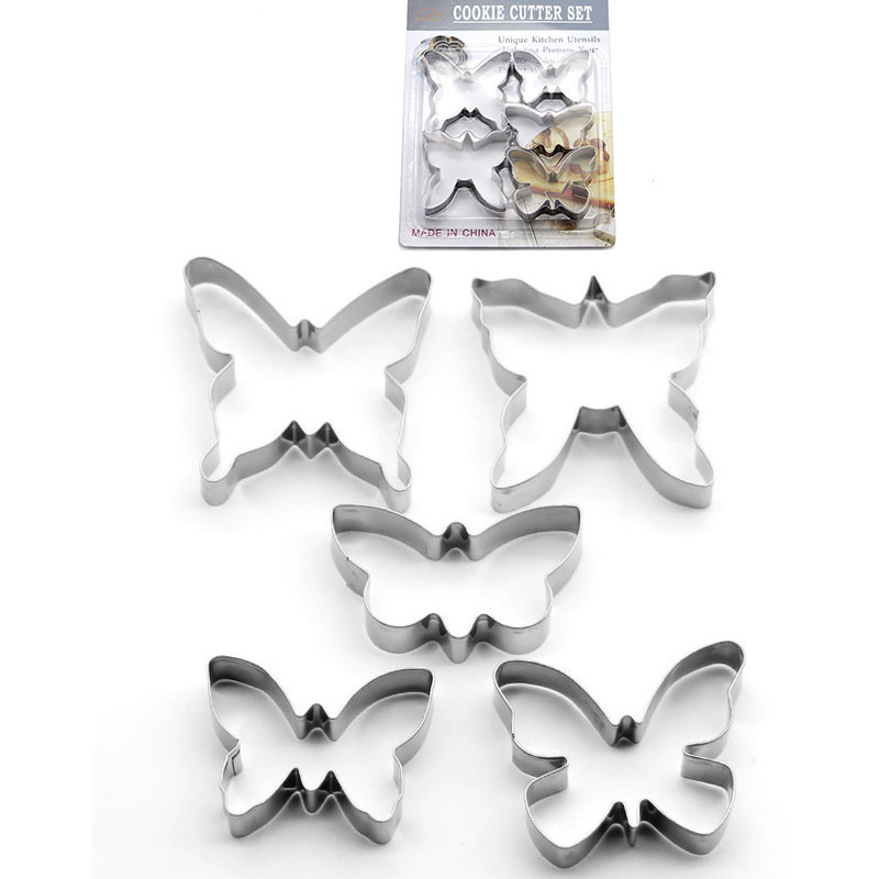 2018 New Stainless Steel Butterfly Cake Moulds 5 Pcs/set Baking Mold Diy Custom Made Fruit Cutting Dies Tool