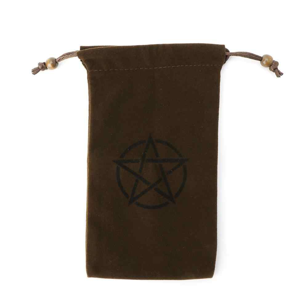 Bolsa de almacenamiento de Tarot de pentagrama de terciopelo juego de mesa tarjeta bordado paquete con cordón