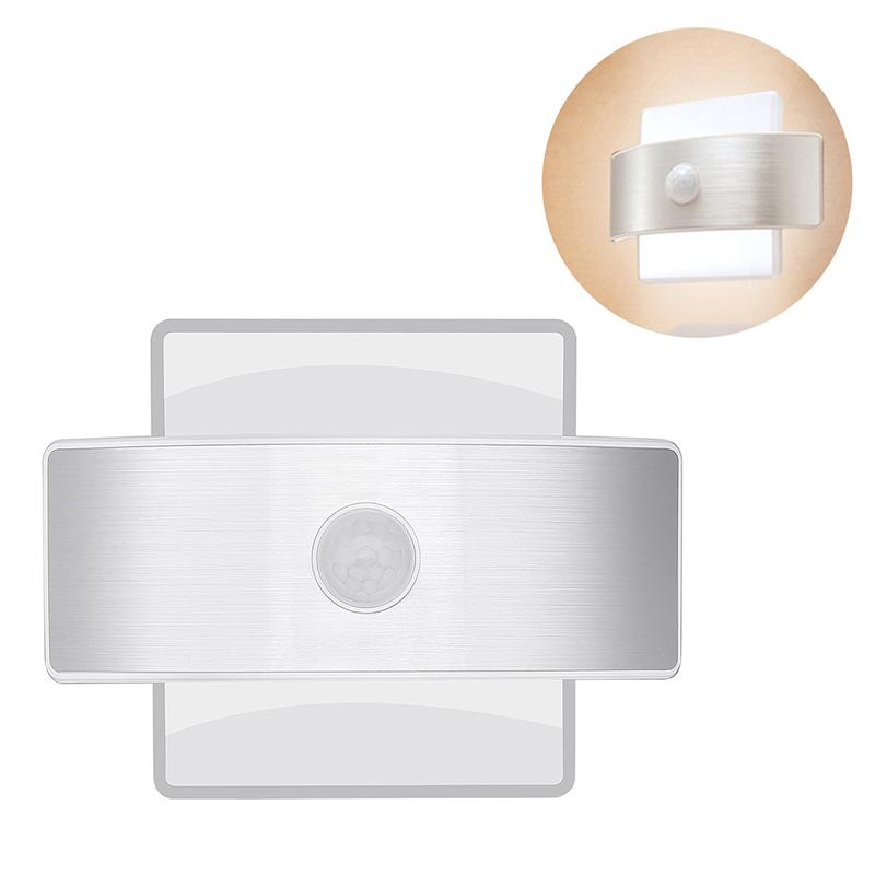 Wall Light Motion Sensor Security Lights 14 LED Night Light Indoor Square Shape Lamp for Stair Kitchen Bathroom Cool White