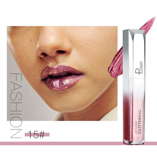 Pudaier Liquid Glitter Metallic Lip Gloss 18 colores labios tinte impermeable larga duración cosméticos Shimmer Lipstick maquillaje TSLM2